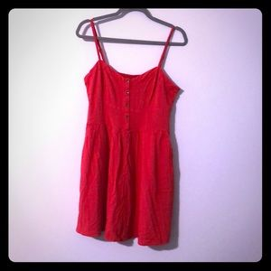 Express Coral Red fit & flare mini with pockets
